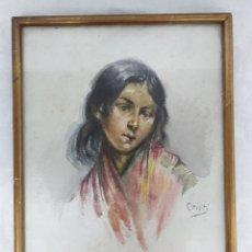 Arte: ANTIGUA ACUARELA FIRMADA CRISTI CON MARCO DORADO. Lote 181943453