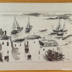 Arte: PAISAJE COSTERO DE PALAMÓS. ACUARELA SOBRE PAPEL. FIRMA ILEGIBLE. 1969. . Lote 182258468