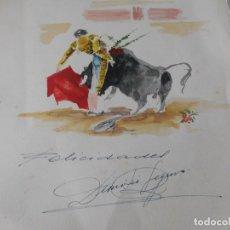 Arte: ACUARELA ANTIGUA DE DIONISIO SEGURA ESCENA CON TORERO Y FELICITACIÓN NAVIDEÑA . Lote 182321556