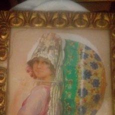 Arte: PINTURA CATALANA RAMON MIR ESCUDE (BARCELONA 1887 -?) MUJER CON MANTILLA Y SOMBRILLA ACUARELA. Lote 182369331