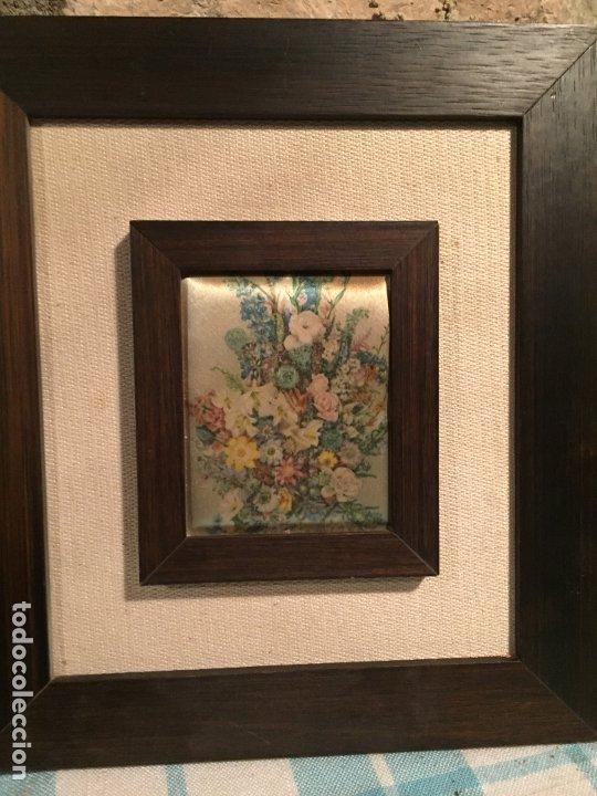 Arte: Antiguos 2 pequeños cuadro / cuadros paisaje pintado en trozo de tela de seda años 60-70 - Foto 3 - 182430888