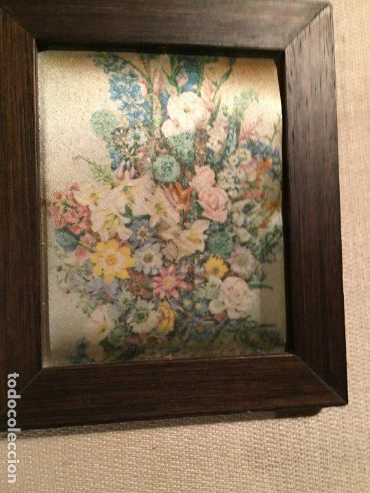 Arte: Antiguos 2 pequeños cuadro / cuadros paisaje pintado en trozo de tela de seda años 60-70 - Foto 4 - 182430888
