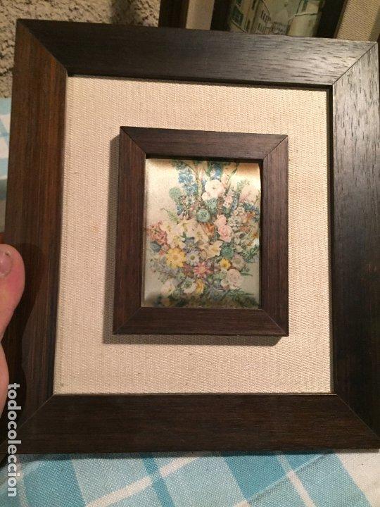Arte: Antiguos 2 pequeños cuadro / cuadros paisaje pintado en trozo de tela de seda años 60-70 - Foto 6 - 182430888