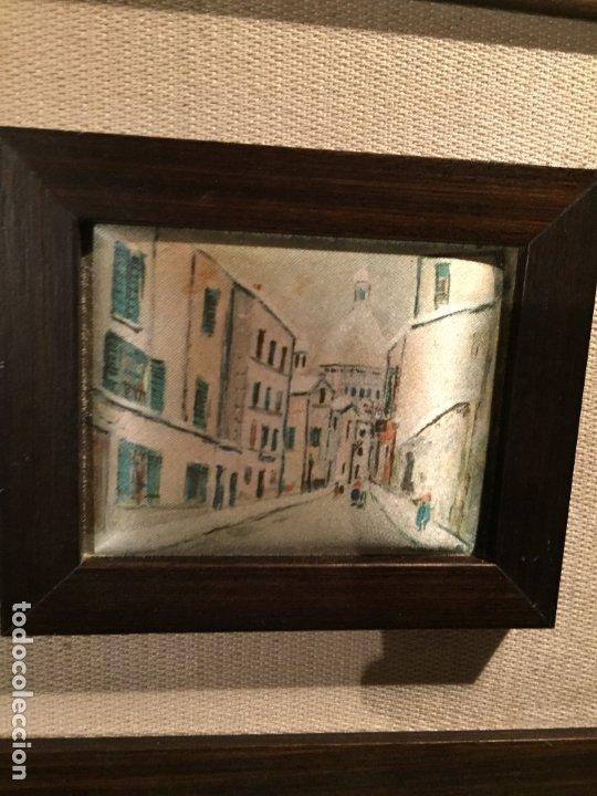 Arte: Antiguos 2 pequeños cuadro / cuadros paisaje pintado en trozo de tela de seda años 60-70 - Foto 8 - 182430888