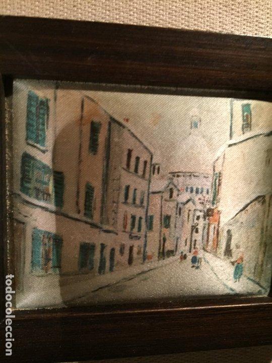 Arte: Antiguos 2 pequeños cuadro / cuadros paisaje pintado en trozo de tela de seda años 60-70 - Foto 9 - 182430888