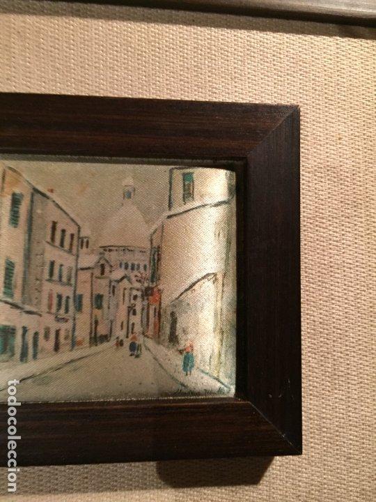 Arte: Antiguos 2 pequeños cuadro / cuadros paisaje pintado en trozo de tela de seda años 60-70 - Foto 10 - 182430888