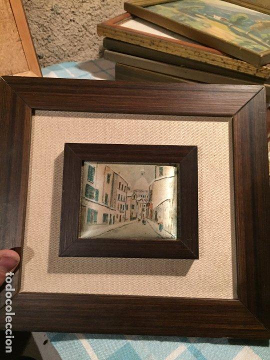 Arte: Antiguos 2 pequeños cuadro / cuadros paisaje pintado en trozo de tela de seda años 60-70 - Foto 11 - 182430888
