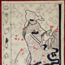 Arte: GRAN FELICITACIÓN DE NAVIDAD. ACUARELA SOBRE CARTULINA. DEDICADO A JUAN BARRIL. ESPAÑA. 1900. Lote 182476707