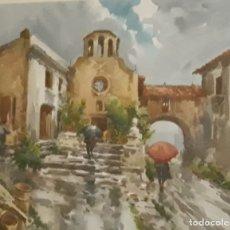 Arte: MARIANO BRUNET COLL (1918-1999) - PASAJE - ACUARELA -. Lote 182505327