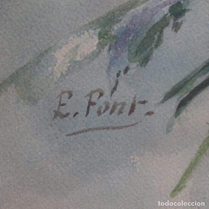 Arte: Gran acuarela firmada e. Font.buen trazo y detalle. - Foto 10 - 182646115