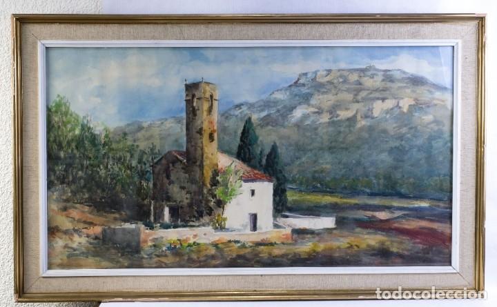 Arte: Acuarela sobre papel Paisaje Montaña con Iglesia Escuela catalana mediados siglo XX - Foto 2 - 182695526