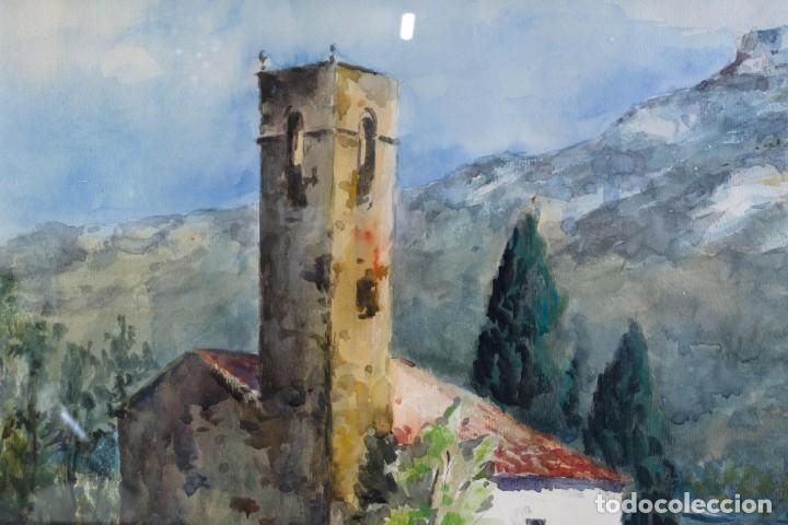 Arte: Acuarela sobre papel Paisaje Montaña con Iglesia Escuela catalana mediados siglo XX - Foto 3 - 182695526