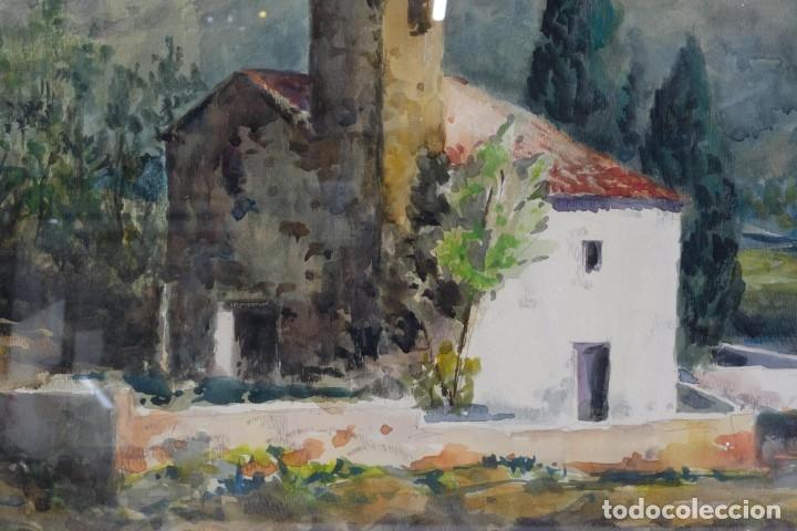 Arte: Acuarela sobre papel Paisaje Montaña con Iglesia Escuela catalana mediados siglo XX - Foto 4 - 182695526