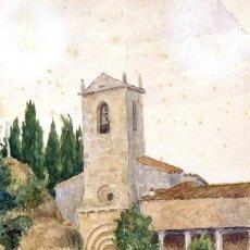 Arte: M. FAGÉS. ACUARELA IGLESIA CON CAMPANARIO. FIRMADA A MANO. 26X16 CM. BUEN ESTADO. . Lote 182723392