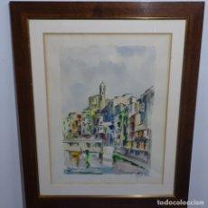 Arte: GRAN ACUARELA DEL PINTOR DE TERRASSA MIQUEL TORNE(PADRE DE TORNE DE SAMIR).GIRONA.BUEN TRAZO.. Lote 182728660