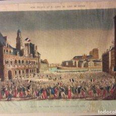 Arte: GRABADO 1820-HOTEL DE VILLE DE PARIS,LE 30 JUILLET 1830. Lote 182794480