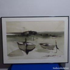 Arte: ACUARELA ILEGIBLE DE TONOS SUAVES Y TRAZO SEGURO.. Lote 182804743