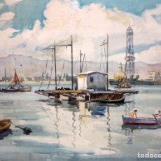 Arte: MARIANO BRUNET COLL (1918 - 1999) ACUARELA SOBRE PAPEL. PUERTO DE BARCELONA. Lote 182865195