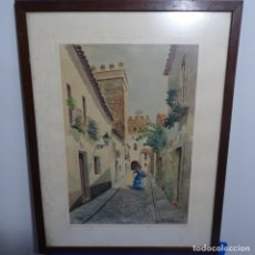 Arte: ACUARELA DEL BARRIO DE SANTA CRUZ DE SEVILLA FIRMADA DÍAZ.. Lote 182913005