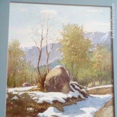 Arte: ACUARELA - PAISAJE NEVADO CON PAJAR - ARTISTA SALAPLANA - OLOT. Lote 183097547
