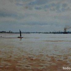 Arte: MARINA: BARCOS EN EL PUERTO - FECHADA 1902. Lote 183374868