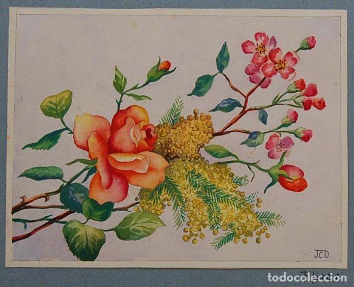 Arte: ORIGINALES 1930s - COLECCIÓN DE ACUARELAS (7): FLORES - Foto 2 - 183387978