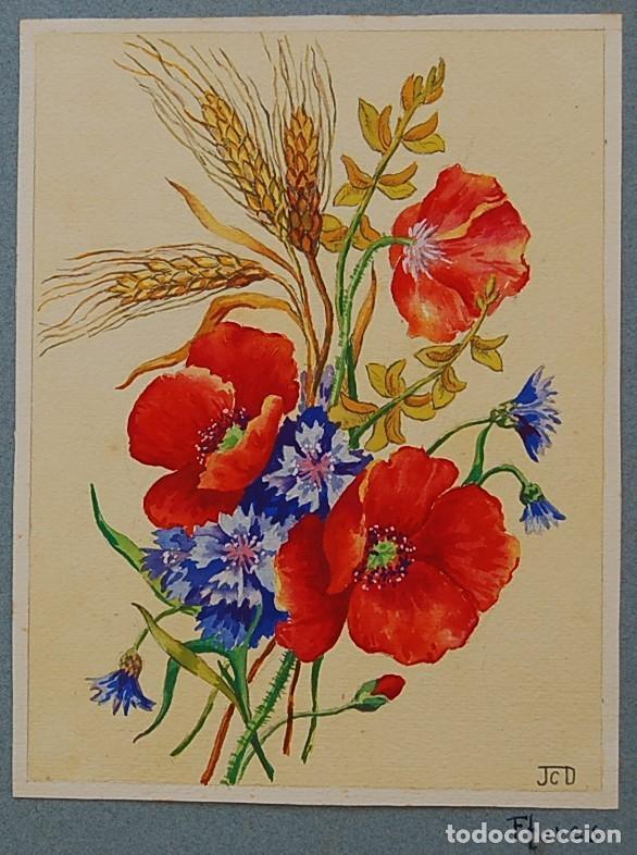 Arte: ORIGINALES 1930s - COLECCIÓN DE ACUARELAS (7): FLORES - Foto 4 - 183387978
