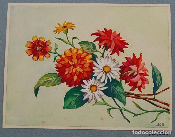 Arte: ORIGINALES 1930s - COLECCIÓN DE ACUARELAS (7): FLORES - Foto 6 - 183387978