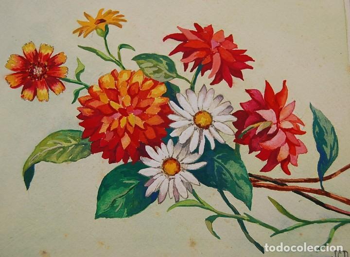 Arte: ORIGINALES 1930s - COLECCIÓN DE ACUARELAS (7): FLORES - Foto 7 - 183387978