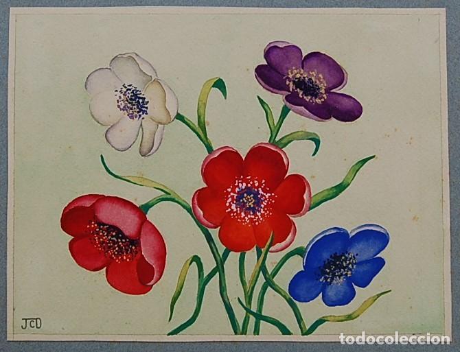 Arte: ORIGINALES 1930s - COLECCIÓN DE ACUARELAS (7): FLORES - Foto 12 - 183387978
