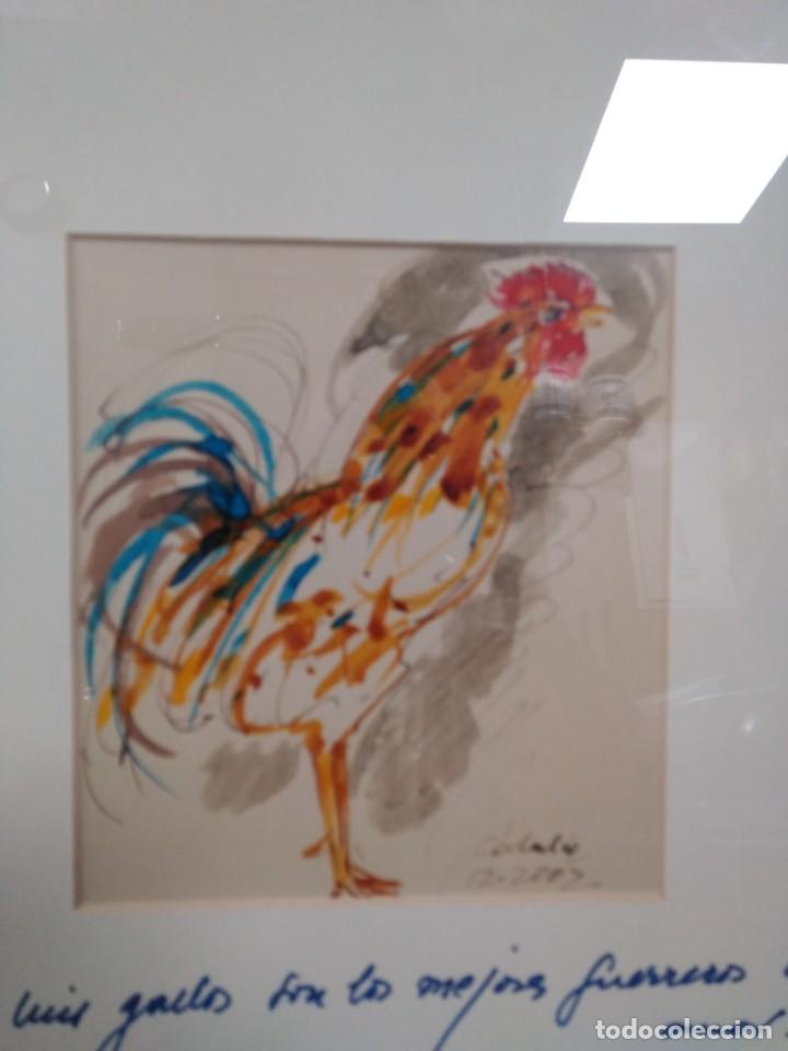 Arte: Obdulio Fuertes Mirandilla Badajoz 1944, espectacular acuarela de unos de sus famosos gallos - Foto 2 - 183532962