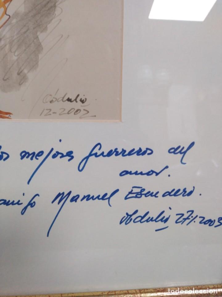 Arte: Obdulio Fuertes Mirandilla Badajoz 1944, espectacular acuarela de unos de sus famosos gallos - Foto 3 - 183532962