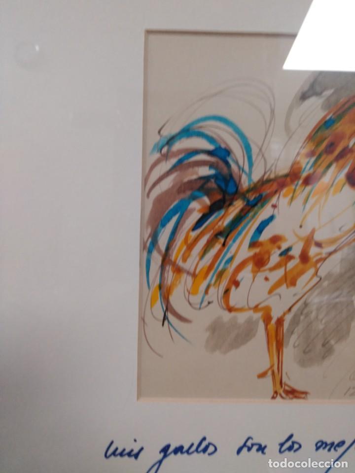 Arte: Obdulio Fuertes Mirandilla Badajoz 1944, espectacular acuarela de unos de sus famosos gallos - Foto 4 - 183532962