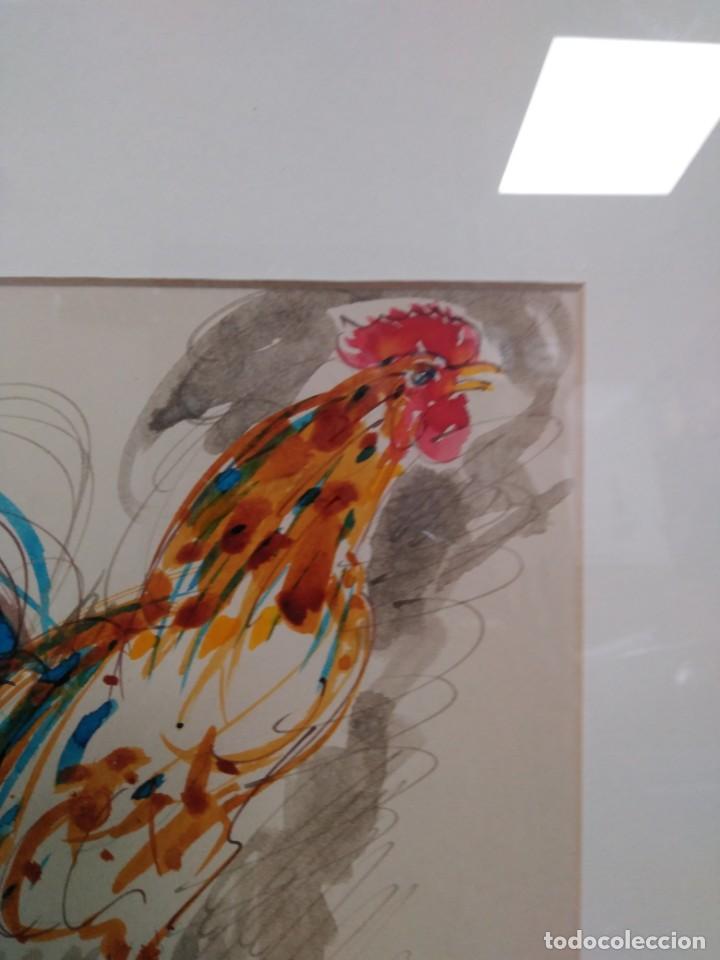Arte: Obdulio Fuertes Mirandilla Badajoz 1944, espectacular acuarela de unos de sus famosos gallos - Foto 5 - 183532962