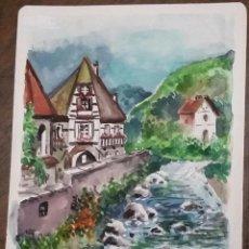 Arte: ACUARELA TITULADA ALSACIA. FIRMADA POR TOMÁS PORTO.. Lote 183548773