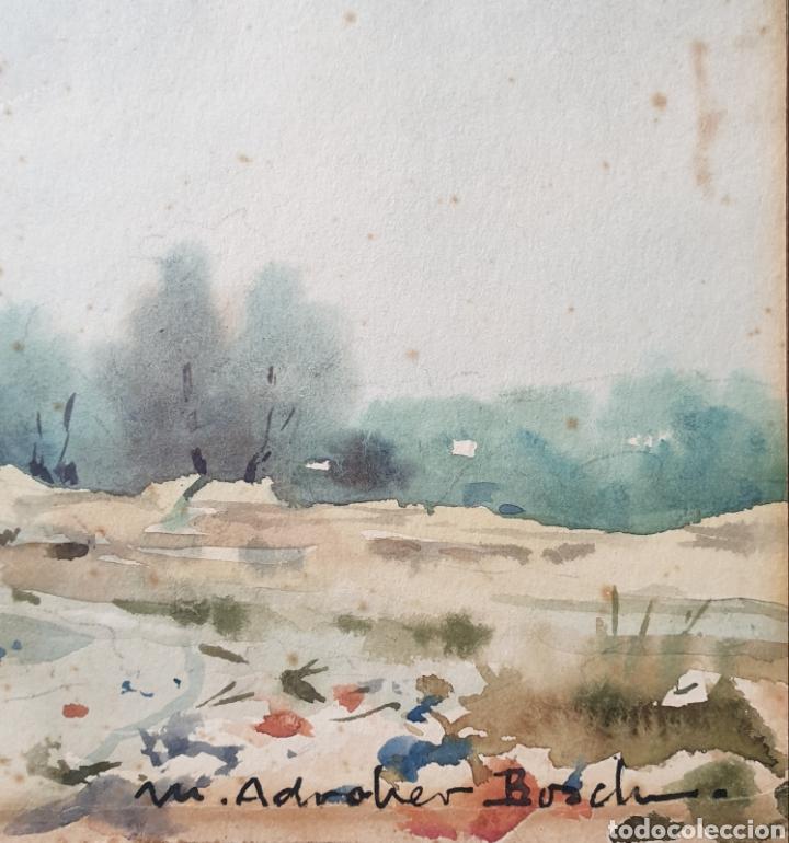 Arte: Martín Adroher Bosch (Gerona, 1905-1972) - Paisaje Rural.Aguada/cartulina.Firmado. - Foto 7 - 183565740