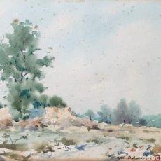 Arte: MARTÍN ADROHER BOSCH (GERONA, 1905-1972) - PAISAJE RURAL.AGUADA/CARTULINA.FIRMADO.. Lote 183565740