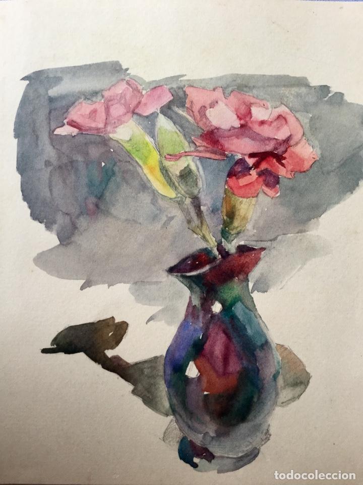 JARRÓN CON FLORES OBRA DEL PINTOR Y ACUARELISTA JOAN FORT GALCERÁN (BARCELONA 1902-¿?) (Arte - Acuarelas - Contemporáneas siglo XX)