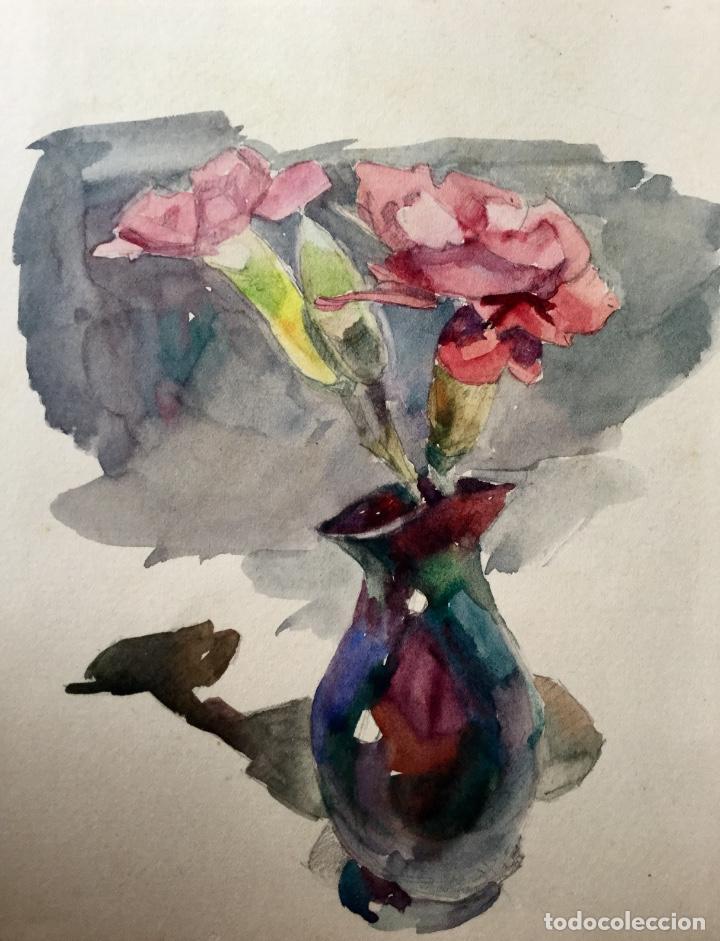 Arte: Jarrón con flores obra del pintor y acuarelista JOAN FORT GALCERÁN (Barcelona 1902-¿?) - Foto 2 - 183569937