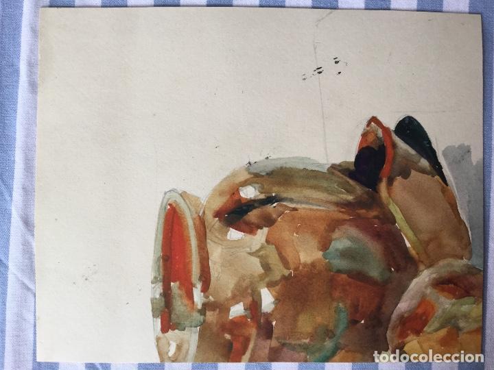 Arte: Jarrón con flores obra del pintor y acuarelista JOAN FORT GALCERÁN (Barcelona 1902-¿?) - Foto 3 - 183569937