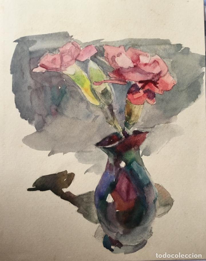 Arte: Jarrón con flores obra del pintor y acuarelista JOAN FORT GALCERÁN (Barcelona 1902-¿?) - Foto 4 - 183569937