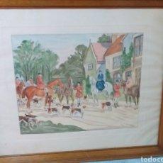 Arte: ACUARELA ESCENA DE CAZERIA. Lote 183570788