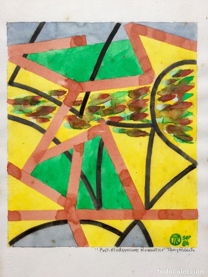 TERENCE ANDREW ROBERTS (GEORGETOWN 1949) OBRA TITULADA POST-MODERNISMO ROMÁNTICO FECHADA DEN 1986 (Arte - Acuarelas - Contemporáneas siglo XX)
