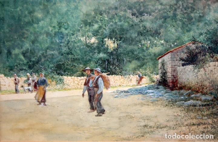 TOMÁS CAMPUZANO - 1857 - 1934 - ACUARELA - CAMPESINOS ASTURIANOS. (Arte - Acuarelas - Modernas siglo XIX)