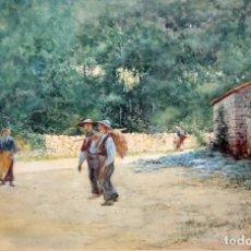 Arte: TOMÁS CAMPUZANO - 1857 - 1934 - ACUARELA - CAMPESINOS ASTURIANOS.. Lote 183728342