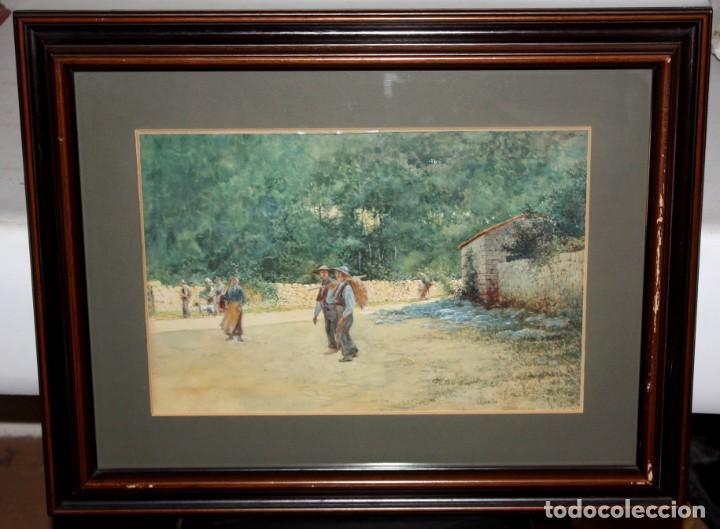 Arte: TOMÁS CAMPUZANO - 1857 - 1934 - ACUARELA - CAMPESINOS ASTURIANOS. - Foto 2 - 183728342
