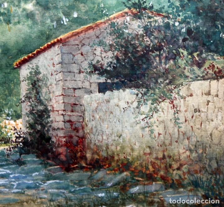 Arte: TOMÁS CAMPUZANO - 1857 - 1934 - ACUARELA - CAMPESINOS ASTURIANOS. - Foto 3 - 183728342