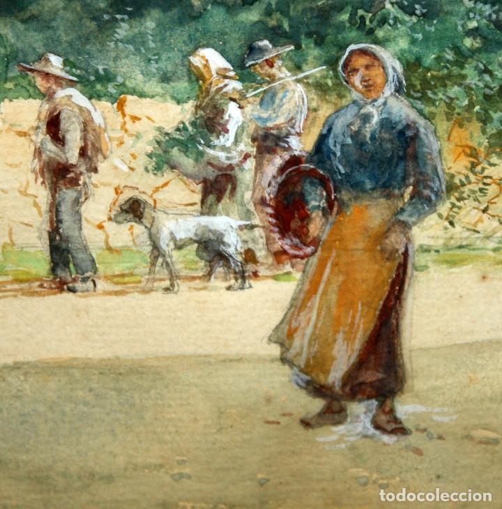 Arte: TOMÁS CAMPUZANO - 1857 - 1934 - ACUARELA - CAMPESINOS ASTURIANOS. - Foto 4 - 183728342