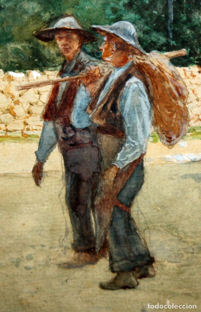 Arte: TOMÁS CAMPUZANO - 1857 - 1934 - ACUARELA - CAMPESINOS ASTURIANOS. - Foto 5 - 183728342
