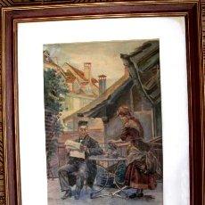 Arte: ESCUELA DE PARIS. AMPARO TREJO GUTIERREZ (1870). CAFE DE PARIS. ACUARELA 48 X 30.. Lote 183770133